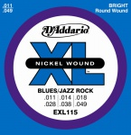 D`ADDARIO EXL-115 струны для электрогитары, Blues/Jazz Rock, никель, 11-49